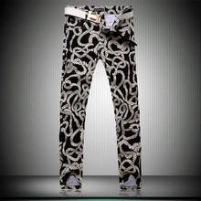 Men Floral Pants 2015 New Brand Slim Men's Pants Rope Print Fashion Casual Hip Hop Pants Big Size 28-36 FREE SHIPPING