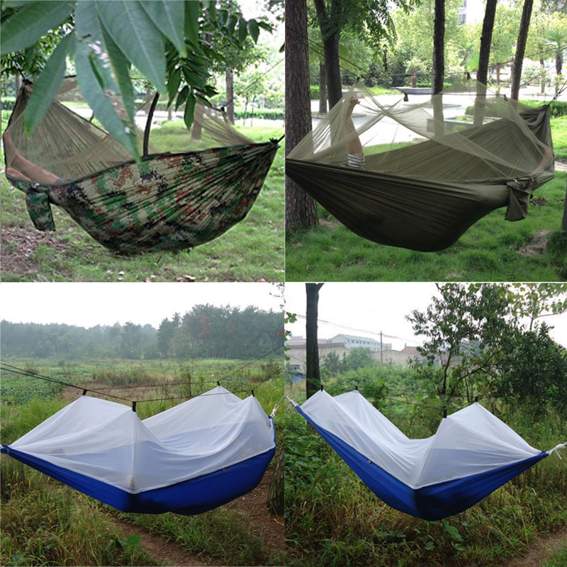 portable high strength 250cm x 120cm parachute fabric hammock tent hanging bed mosquito outdoor