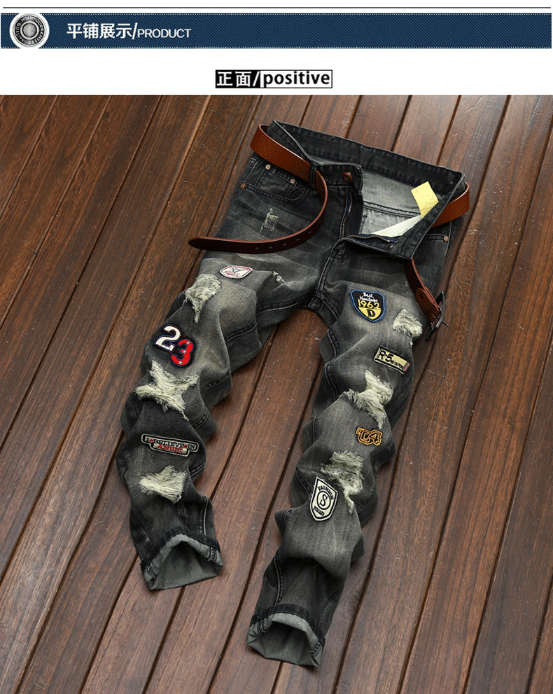 #2727 Badge Bikers Vintage jean homme Ripped jeans men Slim Denim Distressed jeans Straight Hip hop jeans Punk Designer jeans