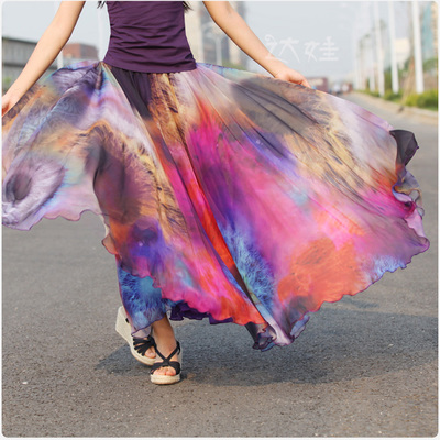 ! Summer Chiffon Maxi Skirt 8 Meter Pleated Saia Feminina Longa 2015 Boho Flower Print Long Skirts Female - Jeethoven store