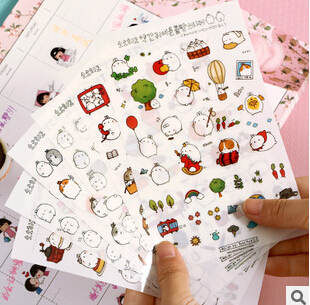 Novelty Molang Cartoon Decorative Stickers Mobile Phone Stickers Stationery DIY Album Stickers FOD(China (Mainland))