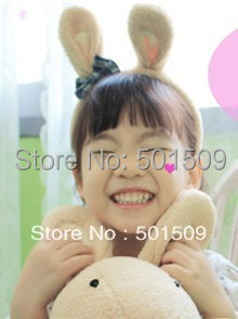 10 pcs a lot Kids adult beige/white/black bunny ears hair band costume birthday party headband for children & adult