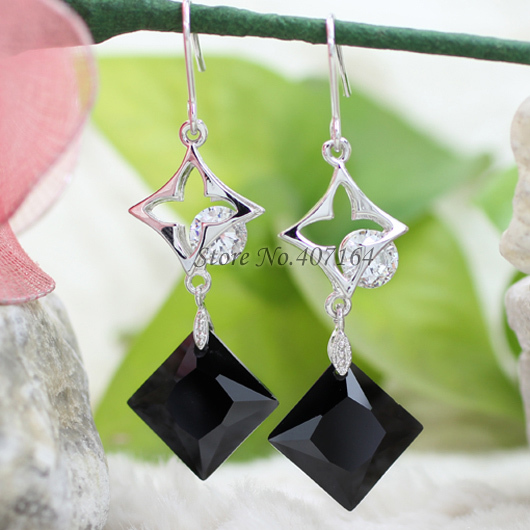 trendy silver plated square earrings black big drop brand women - SunFlower Trade Co.,Ltd store