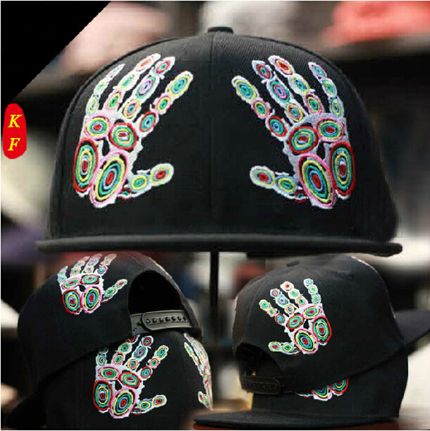 2014 Fashion Snapbacks Colorful Double Hand Fingers Embroidery Flat Brim Hiphop Hat Hip hop Cap Baseball Caps Men Women - KF Store store