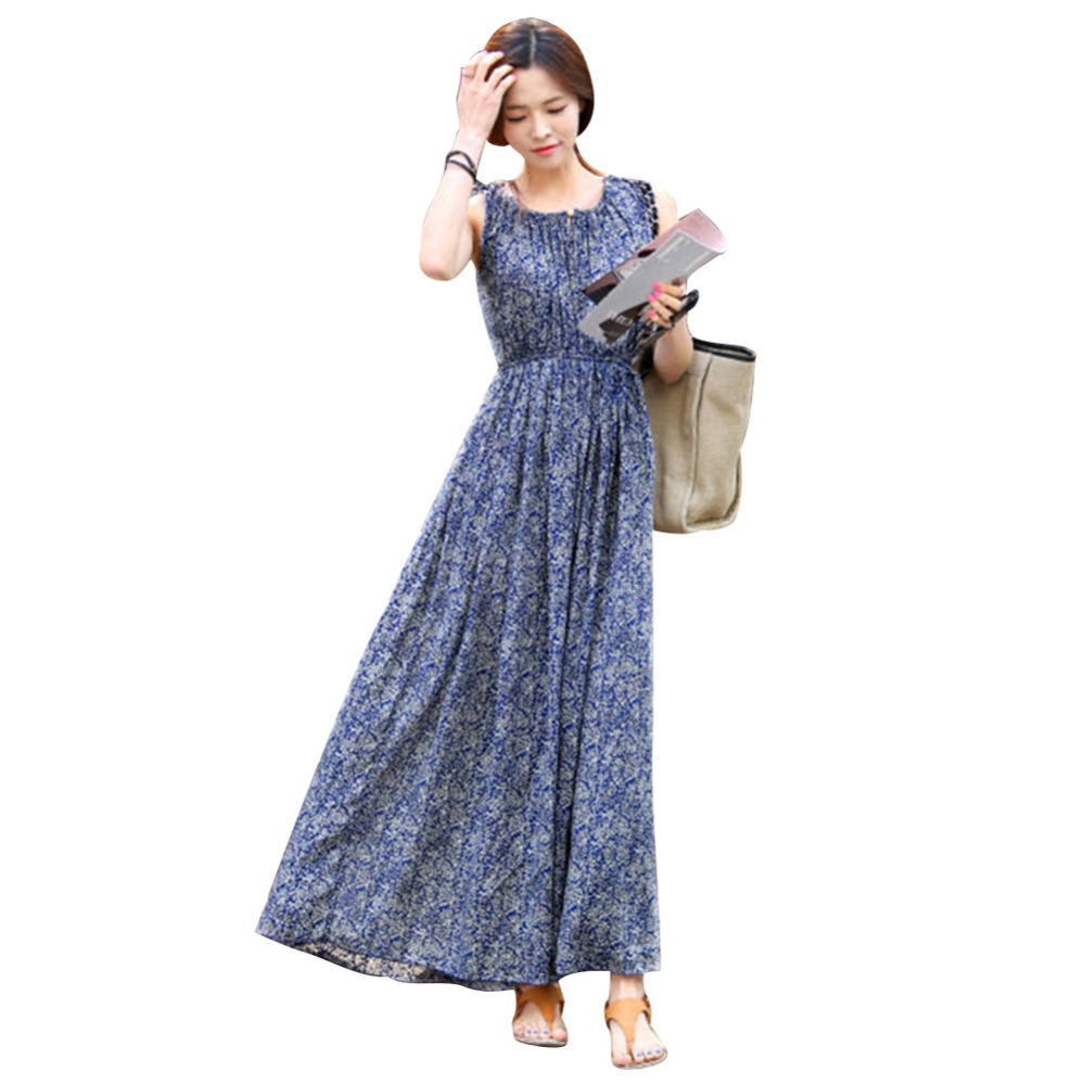 2016 Fashion New Style Vintage Floral Women Summer Long Maxi Evening Party Dress Beach Dresses