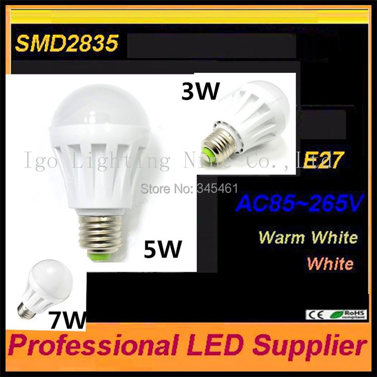 2pcs Wholesale E27 Cree Led Bulb Excellent Quality 3W 5W 7W 9W LED light SMD 2835 led Indoor Light Bedroom Living Room Lights(China (Mainland))