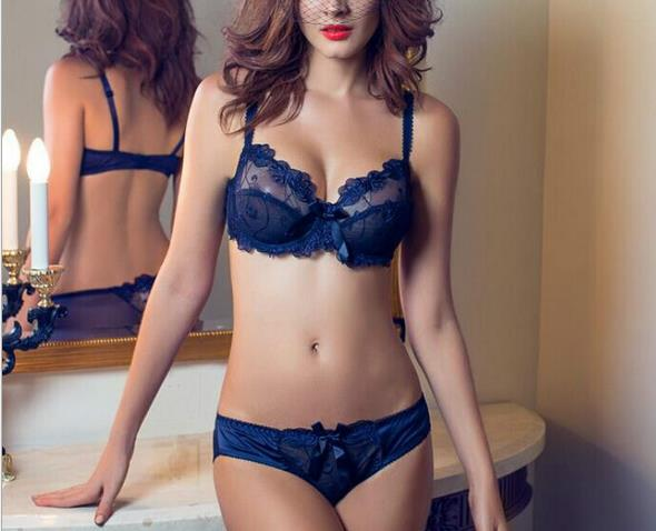 2016 Sexy Bra & Brief Sets Flower gauze Lace Embroidery ultra-thin Transparent Navy Blue Bra Underwear Set(China (Mainland))