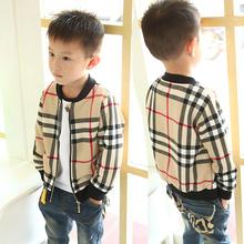 Ragazzi marche giacca primavera autunno moda plaid o-collo a maniche lunghe cardigan tuta sportiva dei bambini cappotti giacca bambini giacche(China (Mainland))