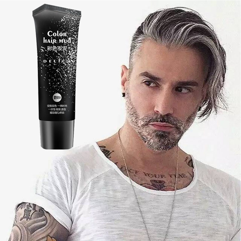 50ml silver gray disposable quickly shape and easy to color hair gel pomade, color hair mud for used both men and women