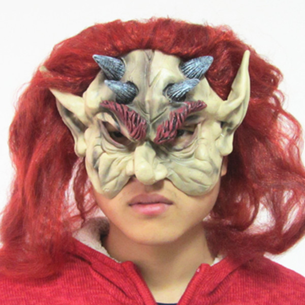 Long Pointed Ears Red Hair Four Ox Horns Masquerade Mask Half Face Mask Good MJ030(China (Mainland))
