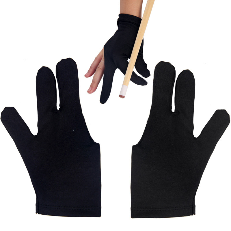 5pcs/lot  Cue Billiard Pool Shooters 3 Fingers Gloves Black for Billiard  Free Shipping(China (Mainland))