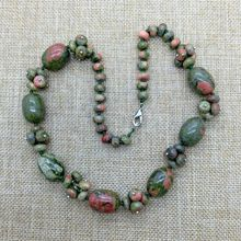 Natural Stone Bead Necklace, Unakite Bead Necklace Choker Necklace; Hand Made Jewelry, Wired Jewelry Necklace(China (Mainland))