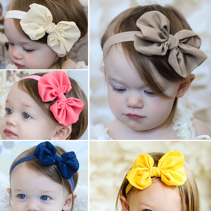 Candy Color Girls Bowknot Pink Baby Bow Yellow Headband Blue Headbands Infant Hair Accessories Bow Toddler Hair Bands Grey White(China (Mainland))