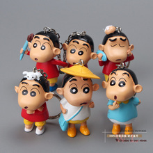 Free Shipping Anime Cartoon Crayon Shin chan Keychains PVC Action Figure Collection Model Toys 6pcs/set SCFG001