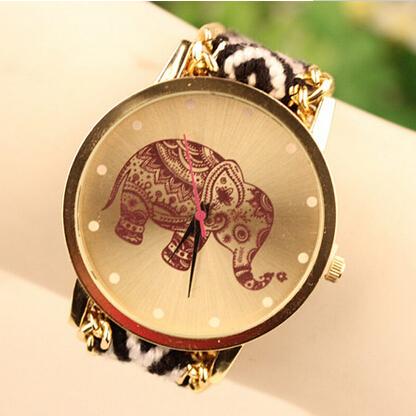 2015 New Fashion Elephant Quartz Woven Fabric Gold Chain Bracelet Watch Women Casual Relogio Feminino Watches Ladies Wristwatch<br><br>Aliexpress