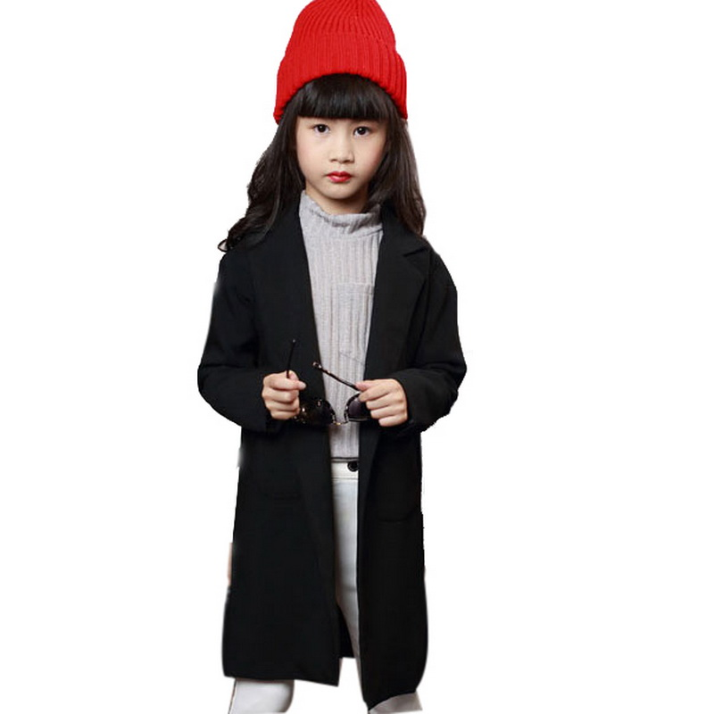 2015 New Arrival Girls Autumn Preppy Style Solid Blazers Kids Long Sleeves Trench Coat Girls British Style Tailored Suit , LC604<br><br>Aliexpress