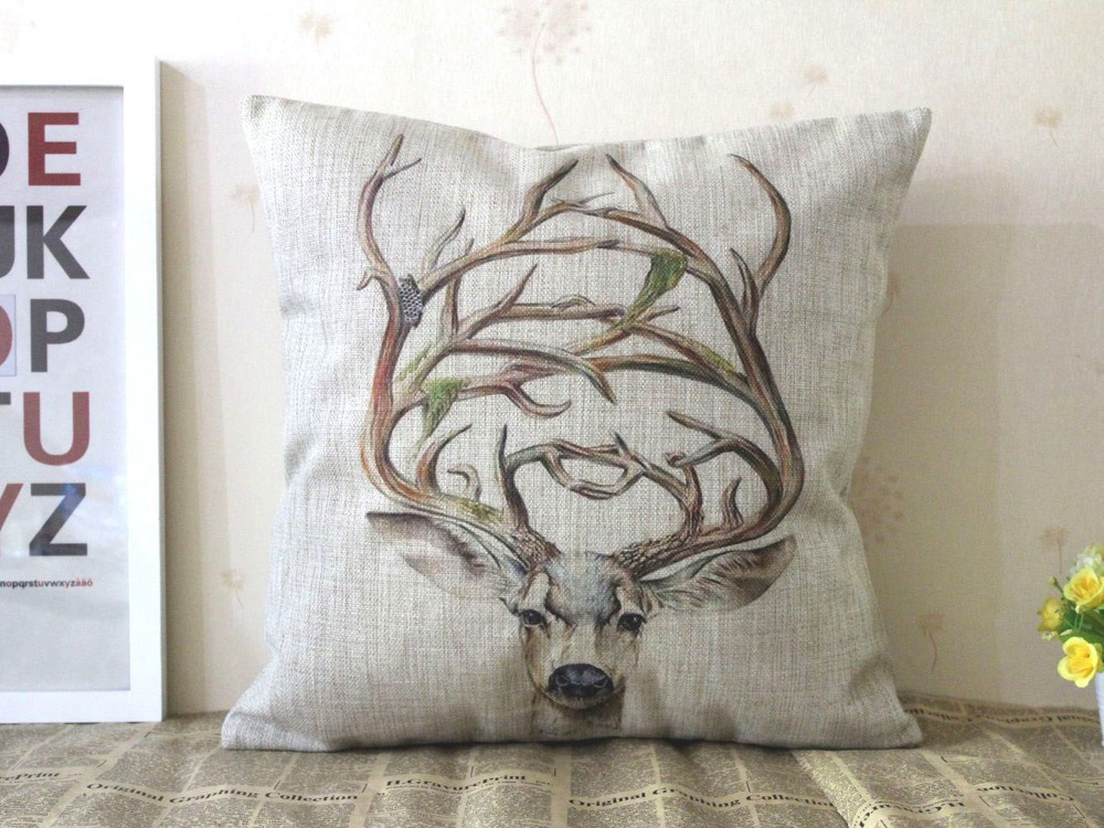 H454 Vintage Linen Watercolor Printing Elk Deer Cushion Pillow Cushion Cover Throw Pillow Case Pad Home Decoration Hand Painting(China (Mainland))