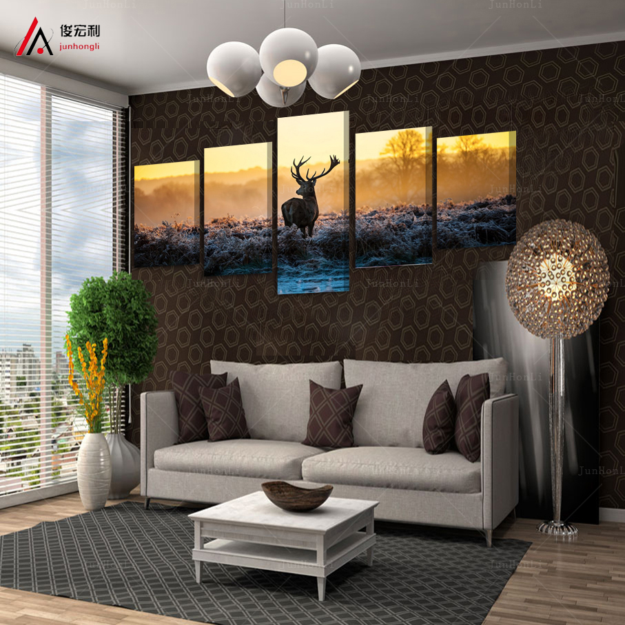 5 piece canvas art African sunset deer painting group children's room decor poster painting canvas art high quality video(China (Mainland))