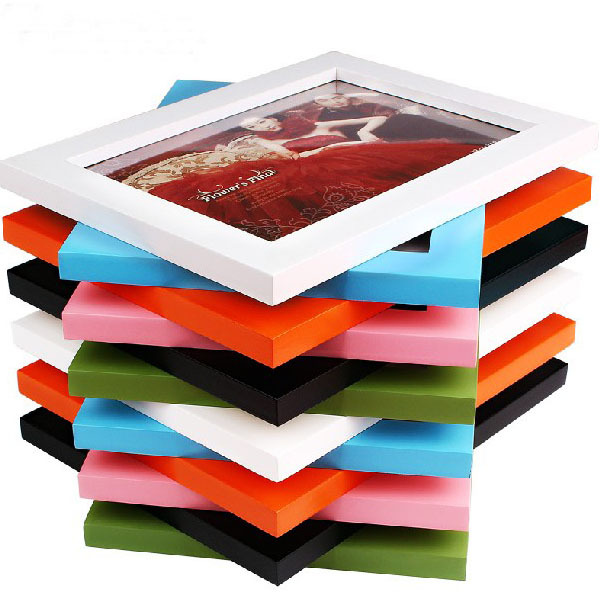 Simple wholesale colorful wooden photo picture frame display wall home desk decor gift(China (Mainland))