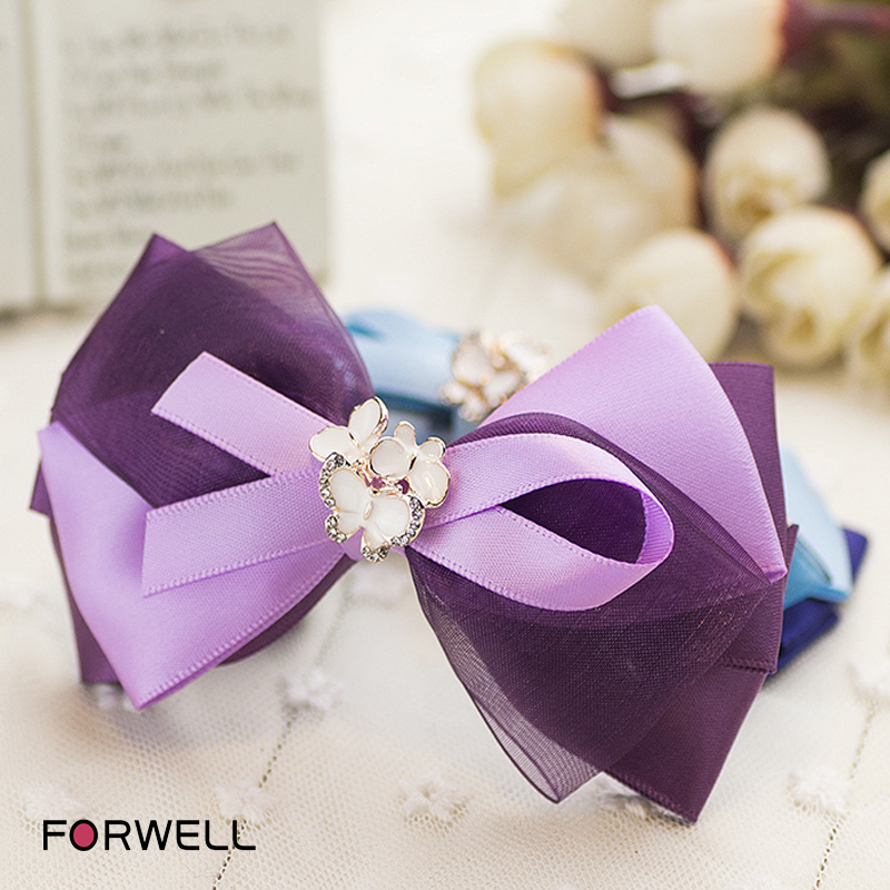 Girls women hair ornaments hairpins fresh style silk yarn composite bow hair clip hair accessories alloy rhinestone barrettes(China (Mainland))