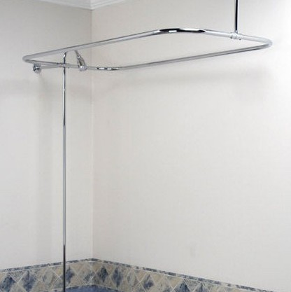 Bathtub Shaped Shower Curtain Rod 304 Stainless Steel Rectangular Shaped Interior Hanging Rods