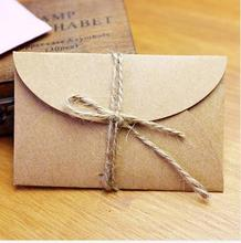 Handmade mini kraft paper envelope 5.8x9cm 200pcs/lot for wedding party invitation card, business card, packaging(China (Mainland))