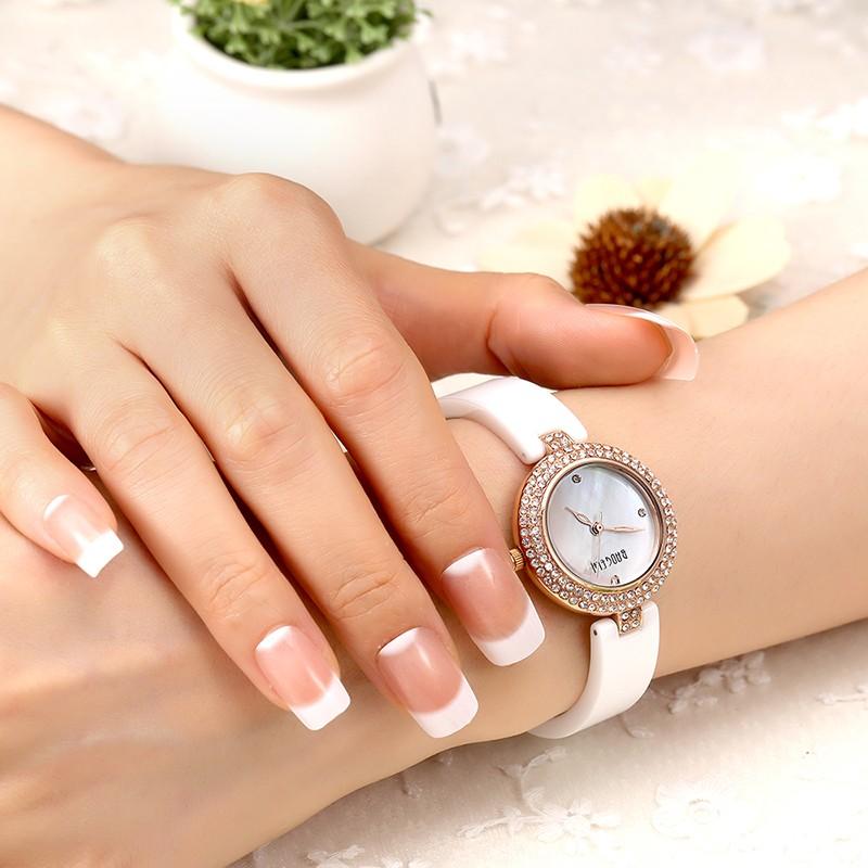 Baogela женская Мода Алмазный Керамические Кварцевые Наручные Часы белый классические часы