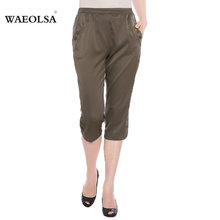 2016 Summer Masture Ladies Business Casual Plus Size Silk Cropped Pants With Button Design Middel Aged Women Black Beige Trouser(China (Mainland))