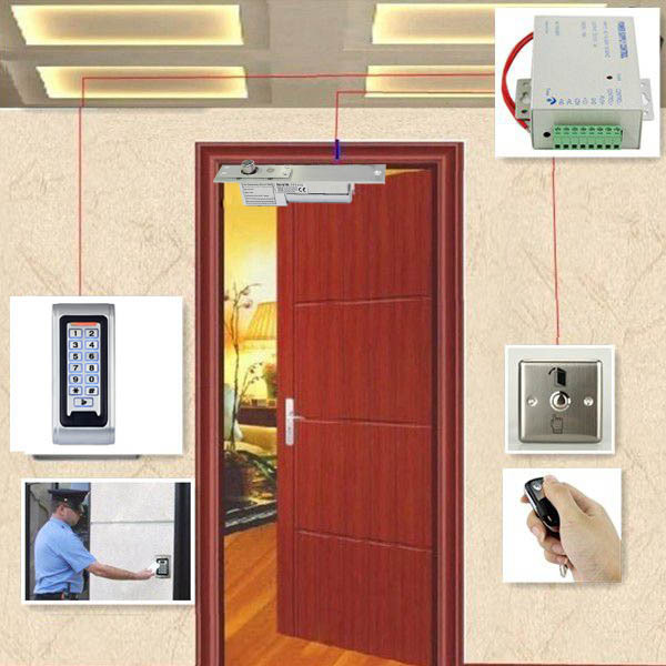 Door Access Control System Kit RFID Reader Electric mortiser is locked up + Power Supply + Door Entry keypad + Remote Controller(China (Mainland))