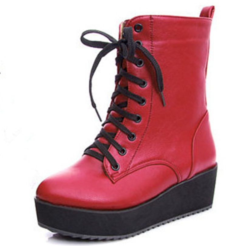 New Fashion Motorcycle Boots for Women Ankle Martin Boots Hot BIG SIZE 34-43 Winter Women Boots Red Orange Yellow(China (Mainland))