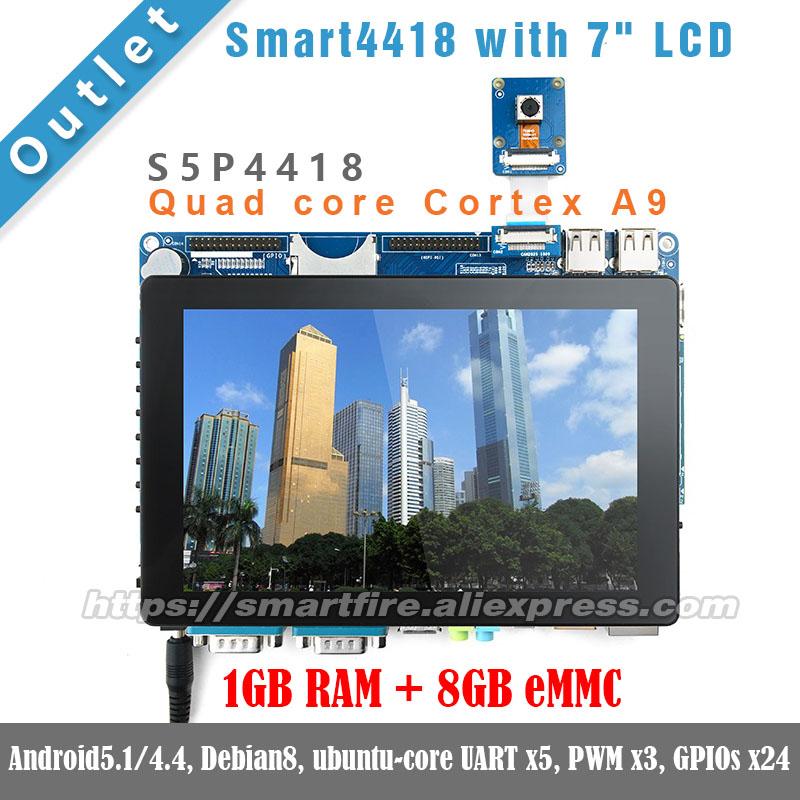 "Smart4418 whit 7""LCD,1.4GHz,1GB RAM,8GB eMMC Quad core Cortex A9 S5P4418 ARM FriendlyARM Android linux DEMO Board(China (Mainland))"