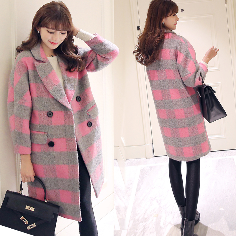 2015 New Winter Women Coat Wool Coats Double Breasted Causal Plaid Long Jacket Wide-waisted Women's Cashmere Elegant Clothing(China (Mainland))