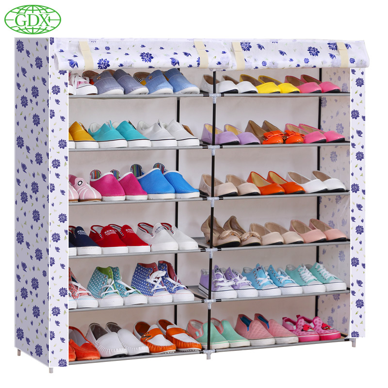 GDX Brand New 1pc Multi-Function New 2 Row 6 Tiers 12 Cube 36 Pair Large Simple DIY Shoe Cabinet Boot Closet Rack Footwear Shelf(China (Mainland))