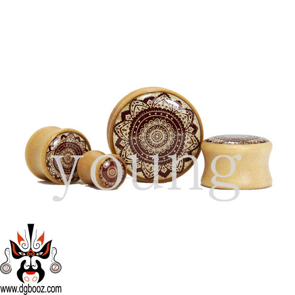 wood ear piercing design gauges plugs flesh tunnel stretcher body jewelry 8-20mm WE-011<br>