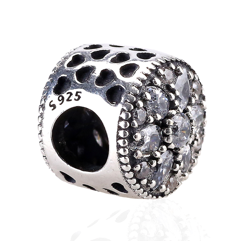 Free Shipping 925 Sterling Silver Bead Charm Love Blooming Flower Crystal Beads Fit Women DIY Pandora Bracelets & Bangles YBD183(China (Mainland))