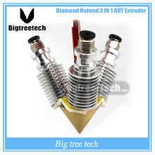 Diamond  3D Printer Extruder Reprap Hotend  E3D V6 heatsink   3 IN 1 OUT  Multi Nozzle Extruder Prusa I3 kit for 1.75/0.4mm