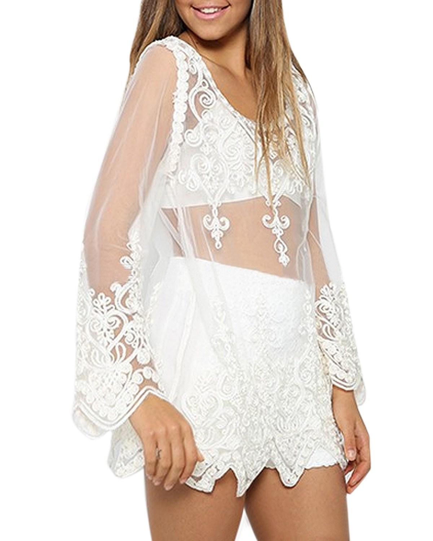 2015 New Sexy Summer Boho Beach Floral Lace Crochet Shirt Sheer Embroidery Blouse Womens Blouse Shirt Bikini Cover UP Tops(China (Mainland))
