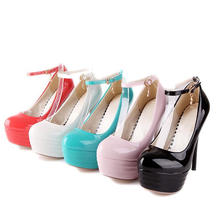 Athemis Love dolls Pumps PU leather Patent shoes Black ...