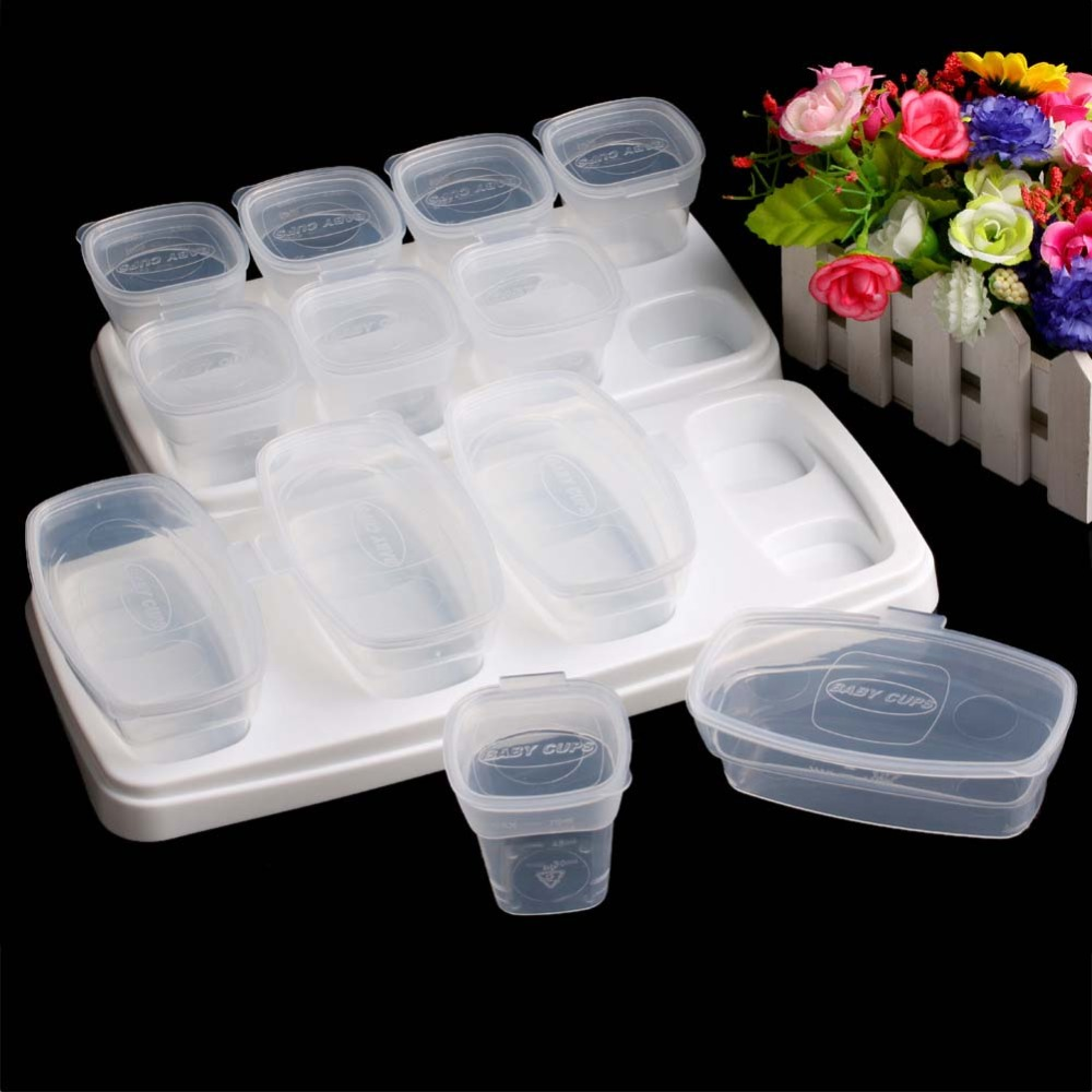 Baby Food Containers Reusable Stackable Storage Cups with Tray