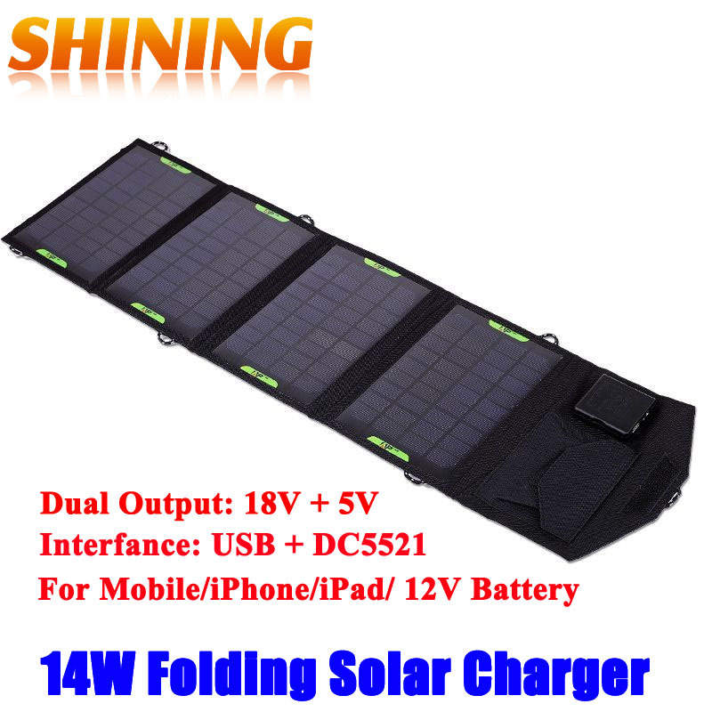 14W 18V Outdoor Solar Panel USB Charger Battery Power Bank Folding Solar Charging Bag For Moible Phone Camping Travel Backpacks