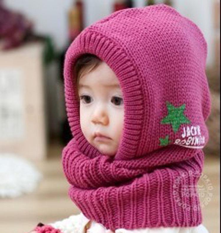 New Wool Korean Cute Stretchy Warm Winter Five-pointed Star Baby Kids Children Cap Hat Beanie Collar Cap(China (Mainland))