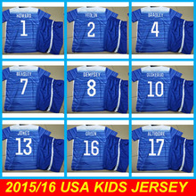Best Quality 2015 Kids USA BRADLEY DEMPSEY JOHNSON  Soccer Jersey Uniforms 15 16 Children USA Boys Youthes 2015 USA Camisas Set(China (Mainland))