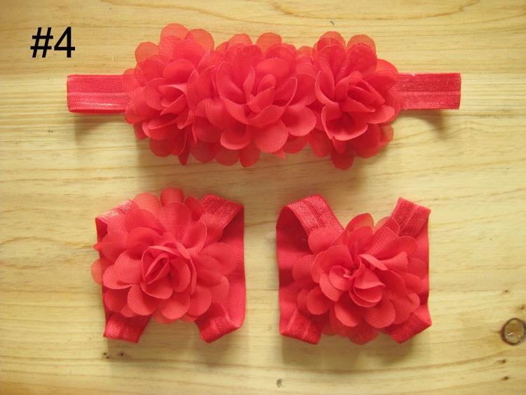 Новорожденный ребенок малышей цветы повязка на голову сандалии комплект 3 шт. мини шифон цветок головные уборы с цветок обувь детская первые ходунки