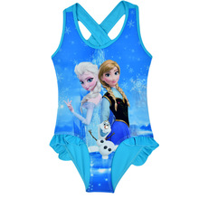 Girls Swimwear Anna Elsa Olaf Bikini Swimsuit Kids Ruffled Swimming Suit For Girl Children Bathing Suit Maillot De Bain CL043