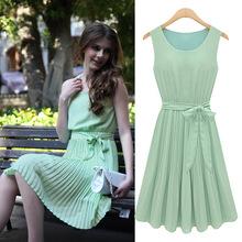 European Style Round Neck Sleeveless Pleated Chiffon Green Dress Women Maxi Summer Coffee Dresses New 2015(China (Mainland))