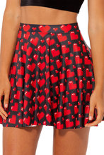 Hot Sell Red Love Pattern Pleated Short Skirt Women's Fashion 2016 High Waist Pleated Spring Summer Mini Skirt For Girls
