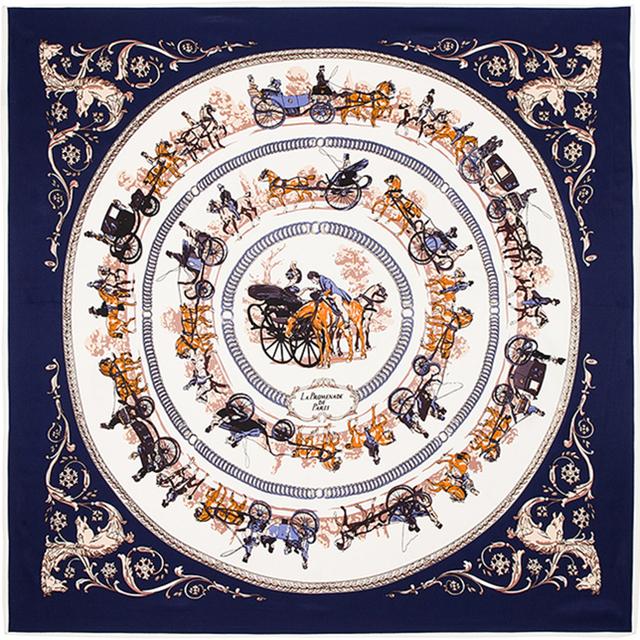 100 см * 100 см 100% саржевые шелковый евро марка королевской семьи перевозки лошадей поездка женщины косынка весна Femal шали шарфов B122