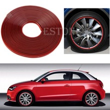 J34 Free Shipping Anti-Scratch Wheel Rim Edge Protection Guard Tape For Cars/Motorbikes Red(China (Mainland))