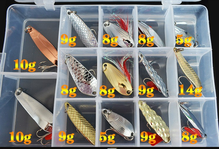 14pcs Hot sale metal spoon fishing lure set spinner fishing baits combo with cheap price(China (Mainland))
