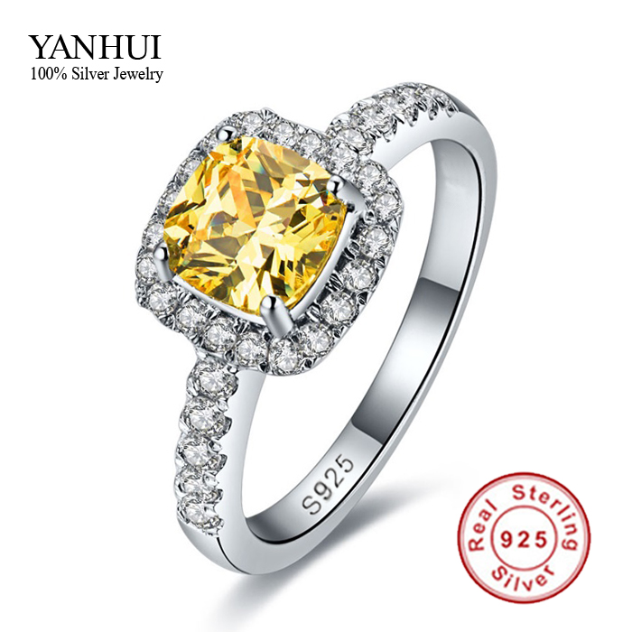 Promotion!!! Fine Jewelry 100% 925 Sterling Silver Engagement Ring With 3 Carat Yellow CZ Diamond Wedding Rings For Women JZR069(China (Mainland))